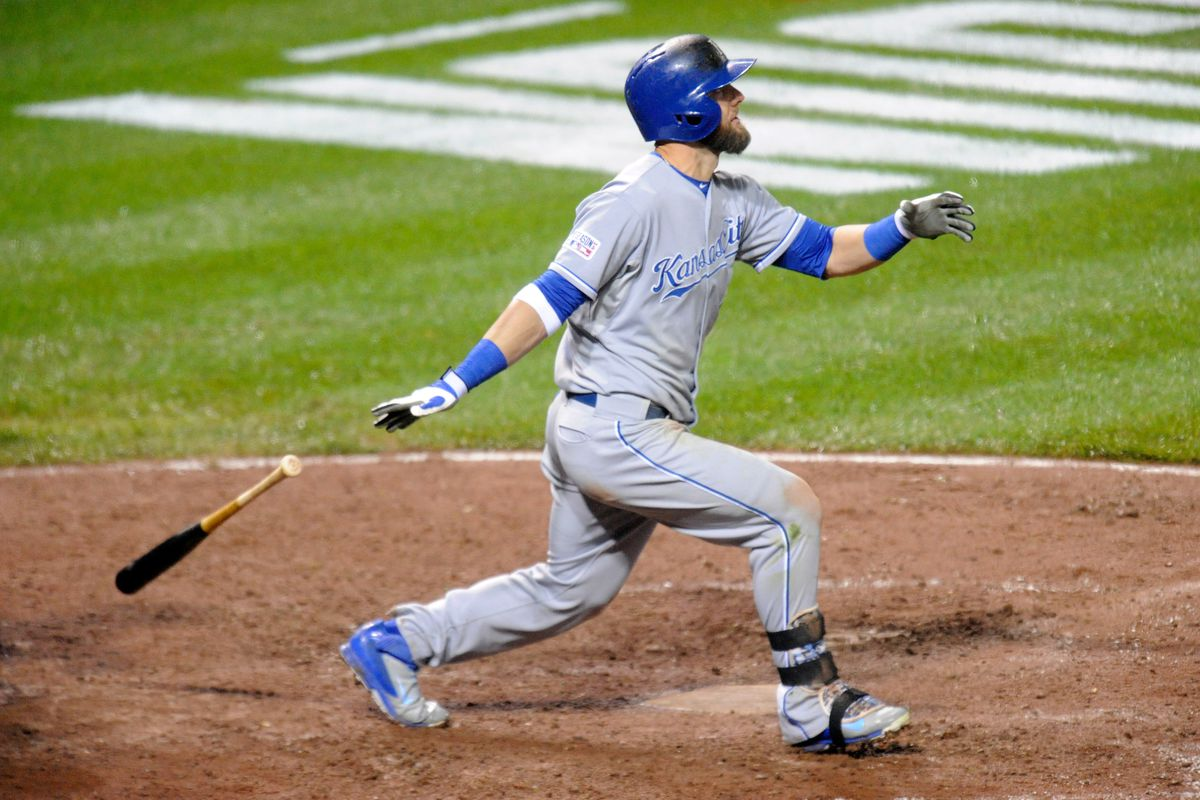 Alex Gordon hits a solo home run to right field in the tenth inning against Darren O'Day during Game 1 of the ALCS