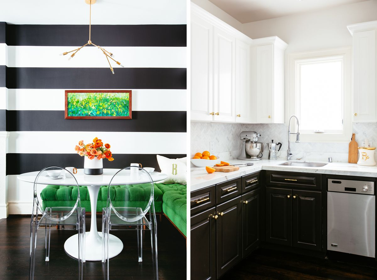 black stripes in a dining area and black cabinets in a kitchen