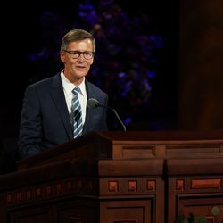Brother Steven J. Lund, Young Men general president, speaks during the Saturday afternoon session of the 190th Semiannual General Conference of The Church of Jesus Christ of Latter-day Saints on Oct. 3, 2020.