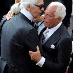 Karl Lagerfeld and Giorgio Armani