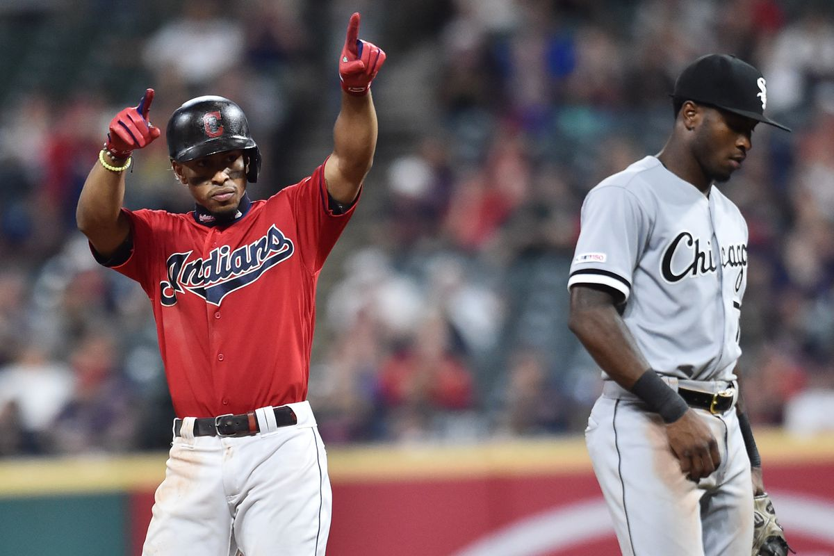 Francisco Lindor celebrates a home run by shooting the