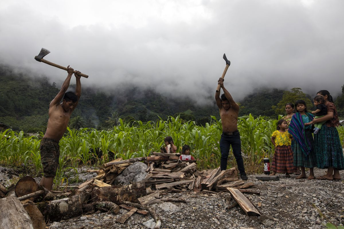 Eduardo Cal Chen, 23 (left), and his 20-year-old brother Edgar chop wood in the makeshift settlement of Nuevo Queja, Guatemala.