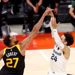 Utah Jazz center Rudy Gobert (27) blocks Memphis Grizzlies forward Dillon Brooks (24) as the Utah Jazz and the Memphis Grizzlies play in Game 5 of an NBA basketball first-round playoff series at Vivint Arena in Salt Lake City on Wednesday, June 2, 2021.