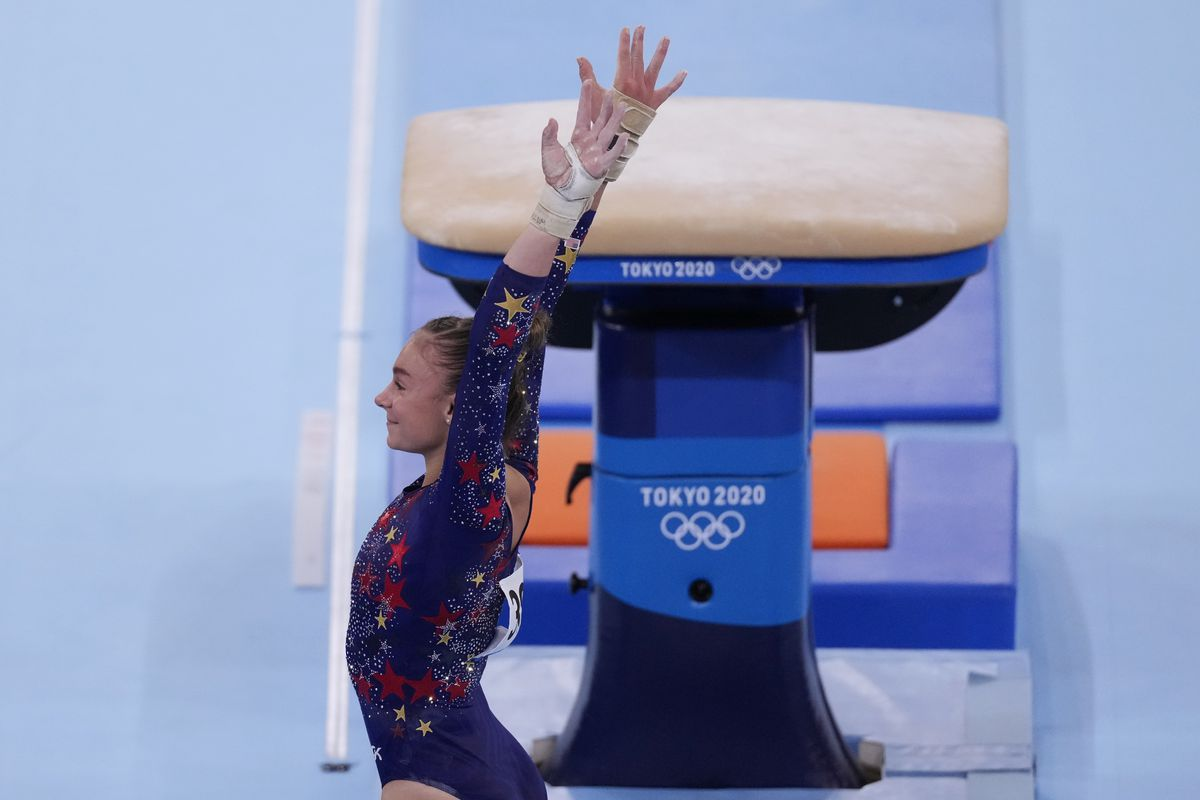 Grace McCallum performs on vault during gymnastic qualifications the 2020 Summer Olympics.