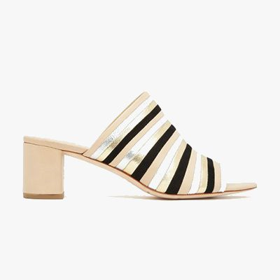 Striped metallic open-toe loafers with wooden heel.