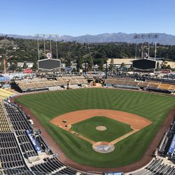 View from the top deck of the construction at Dodger Stadium, March 3, 2020