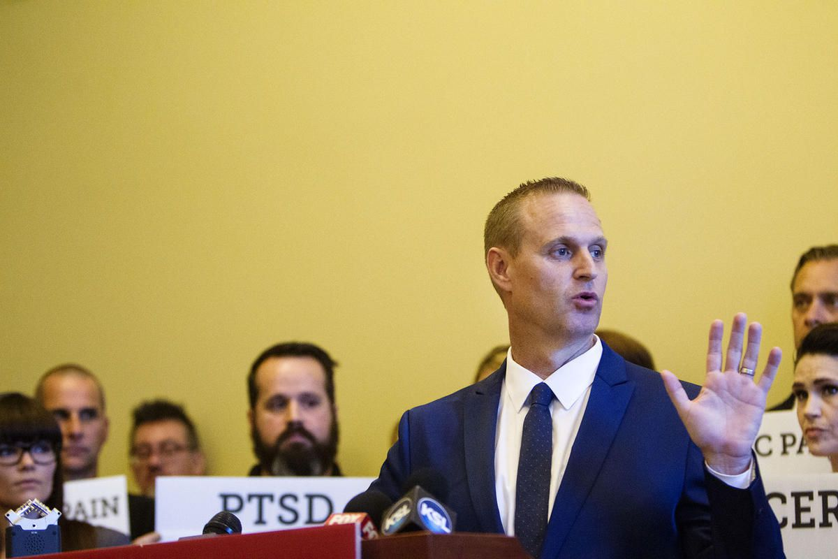 FILE - Utah Patients Coalition executive director DJ Schanz speaks during a press conference held by the supporters and legislators of the Utah Patients Coalition 2018 medical cannabis initiative campaign at the state Capitol in Salt Lake City on Monday,