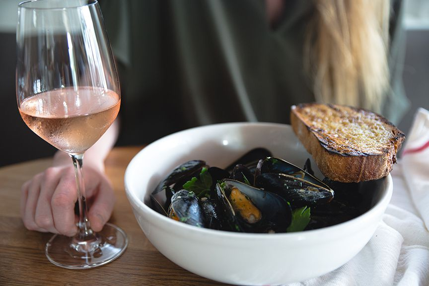 Wine and mussels at Texas French Bread