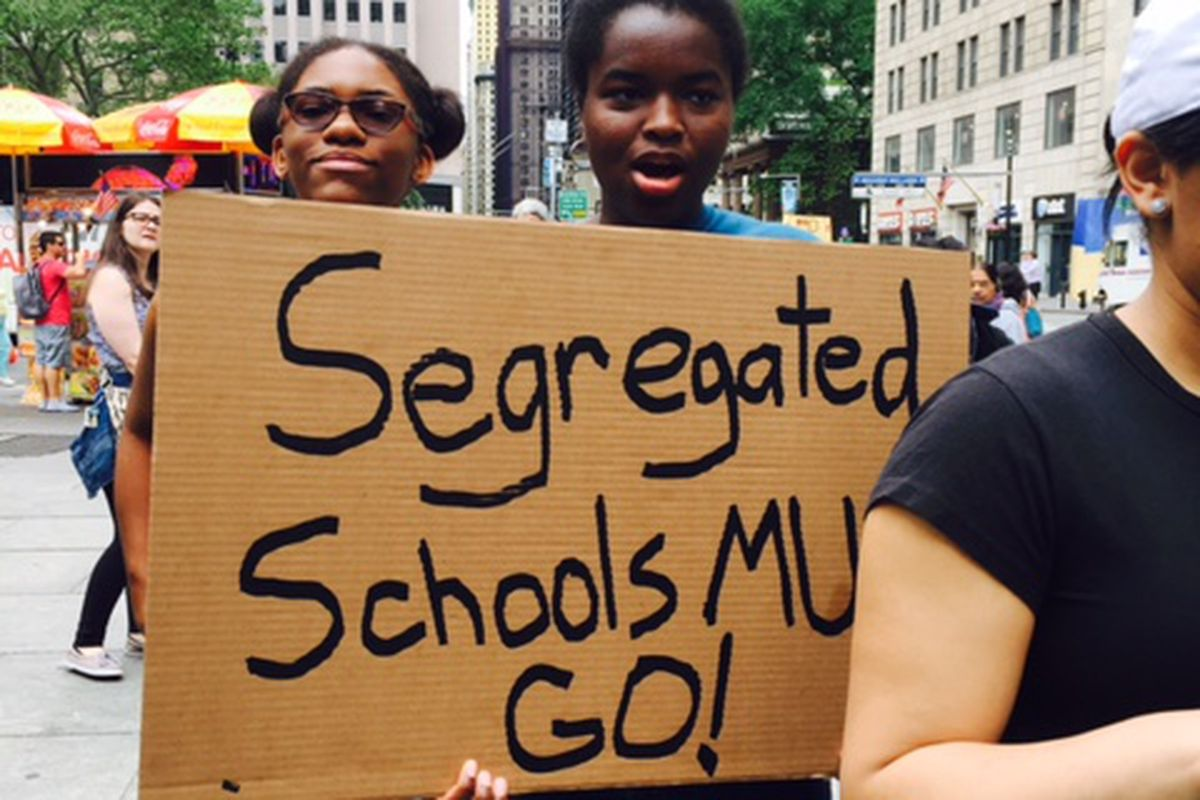 New York City students called for school integration at a rally at City Hall in May 2017.
