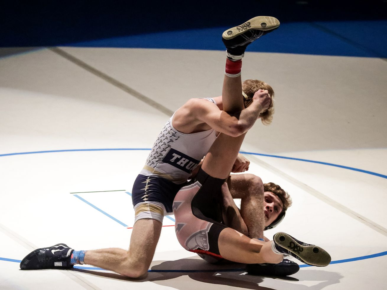 West's Drew Lang, right, defeats Westlake's Jacob Finlinson in the 132-pound finals match at the 6A wrestling state championship at Corner Canyon High School in Draper on Friday, Feb. 19, 2021.