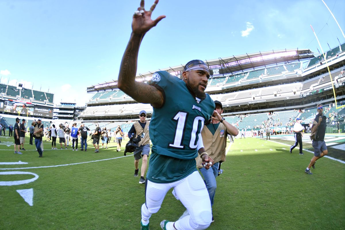 Philadelphia Eagles wide receiver DeSean Jackson runs off the field after win against Washington at Lincoln Financial Field.