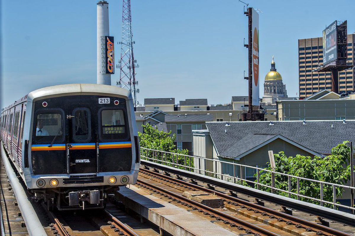 A Blue Line train heads out of downtown. If MARTA has its way, the train could head all the way to Stonecrest.