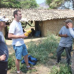 From left: CHOICE humanitarian Christopher Johnson, Crio Bru and Durci founder Eric Durtschi, farm owner Don Alfonso and ASPROBO co-op President Arturo Aguirre. With the help of CHOICE Humanitarian and the ASPROBO co-op, Durtschi traveled to Peru in 2015 to search for rare cacao beans.