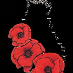 """""""The <a href=""""http://birdqueendesigns.com/artwork/1543203_Red_Poppy_Necklace.html"""">Red Poppy Necklace</a> ($36) is a design I've had for a while, but it remains popular. The asymmetry appeals to people, and I love the vibrant red. Because it's so popular,"""