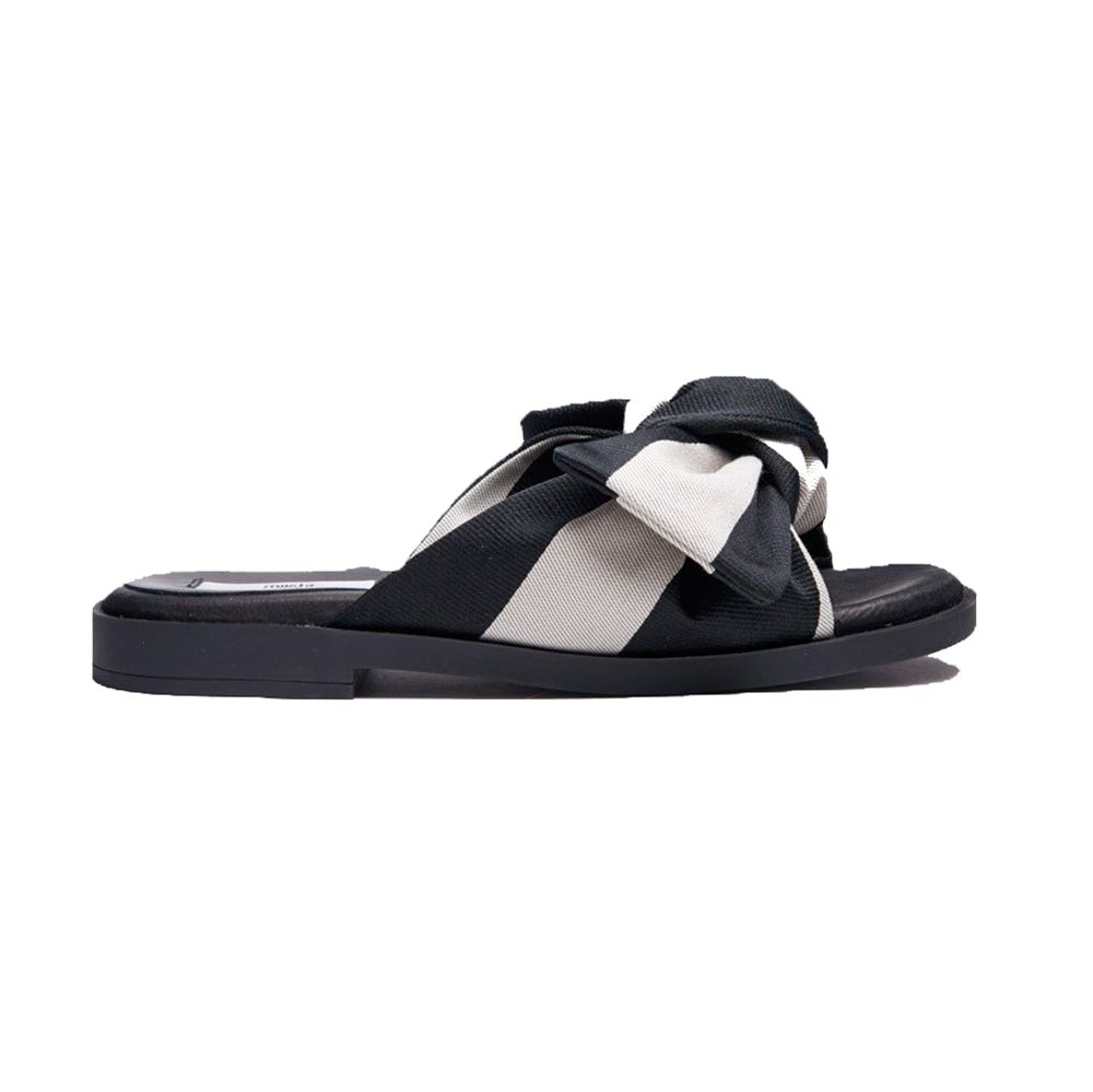 fabric tie slide sandal