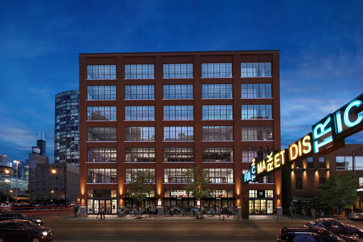 """An exterior rendering of a large building with lots of windows and a white sign that reads """"Boqueria."""""""