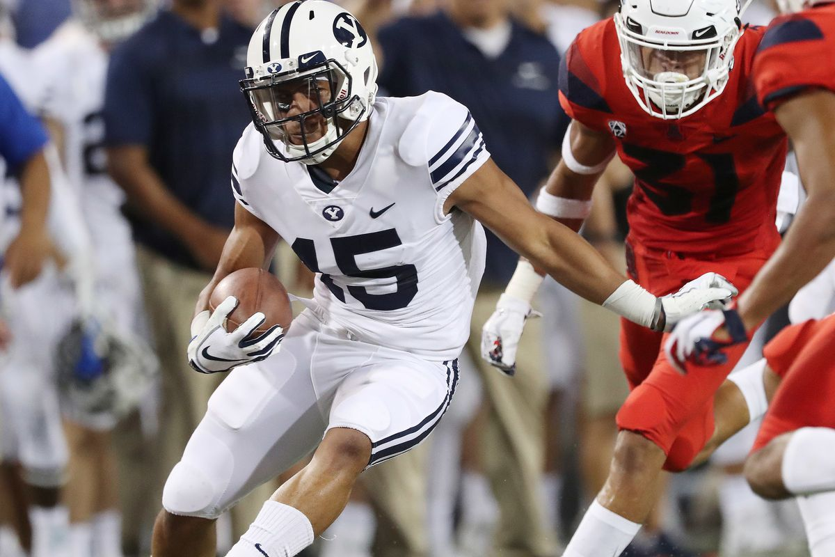 Brigham Young Cougars wide receiver Aleva Hifo (15) runs after a catch against the Arizona Wildcats in Tucson, Arizona, on Saturday, Sept. 1, 2018.