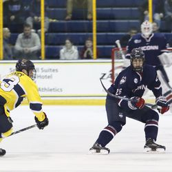 The UConn Huskies take on the Merrimack Warriors in a men's college hockey game at Lawler Rink in North Andover, MA on January 12, 2018.