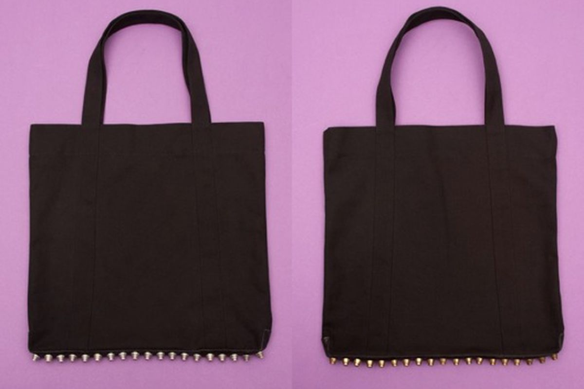The new Alexander Wang tote. Black canvas with either gold or silver studs. Rawr! Images via Opening Ceremony