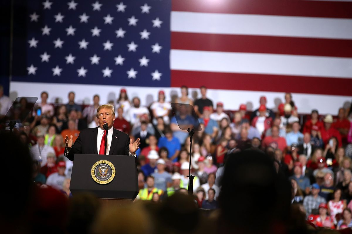 President Donald Trump holds a rally in Montana.