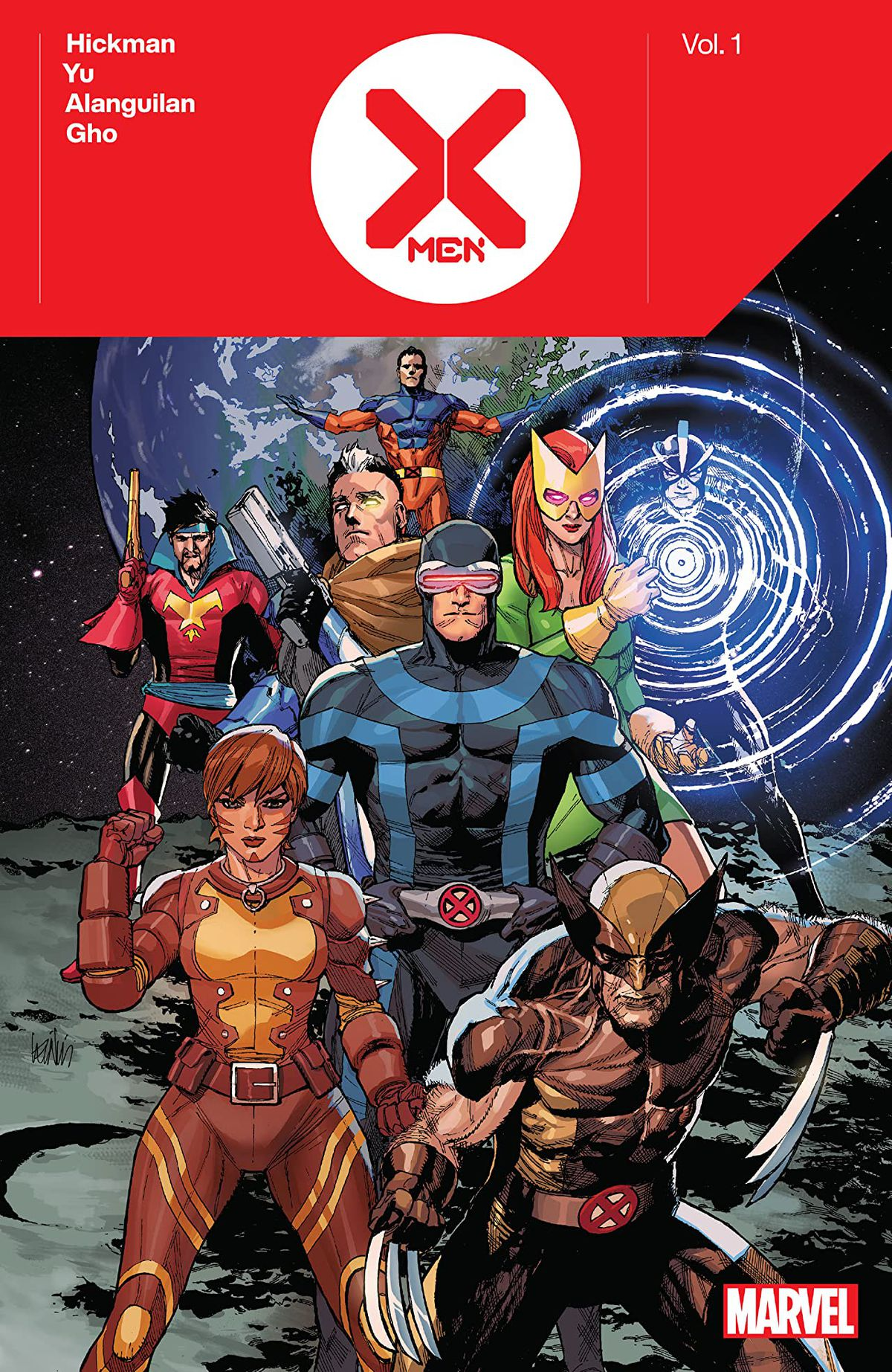Vulcan, Corsair, Cable, Jean Grey, Havok, Cyclops, Rachel Grey, and Wolverine pose on the moon on the cover of X-Men by Jonathan Hickman Vol. 1 (2020).