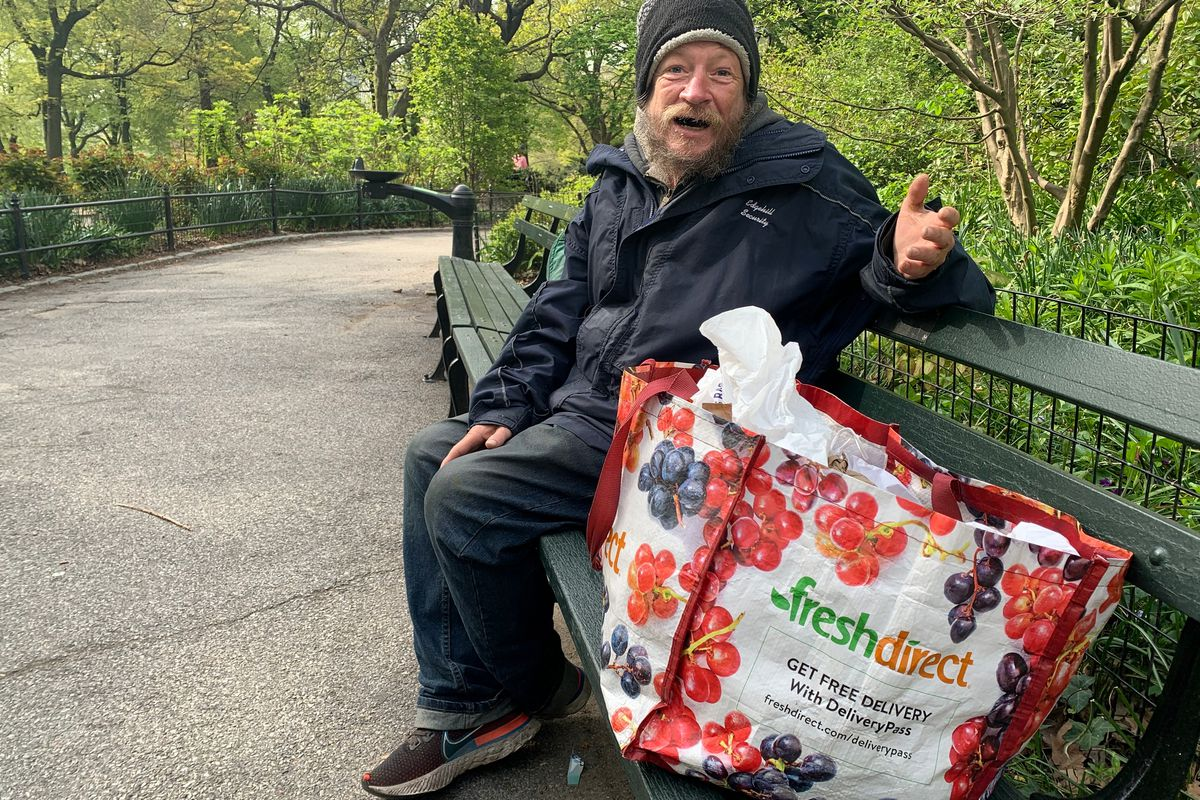 Scott Stone, 53, who is experiencing homelessness and sleeps in Central Park and in the subway, is seen in Central Park, in Manhattan, NY on April 28, 2021.