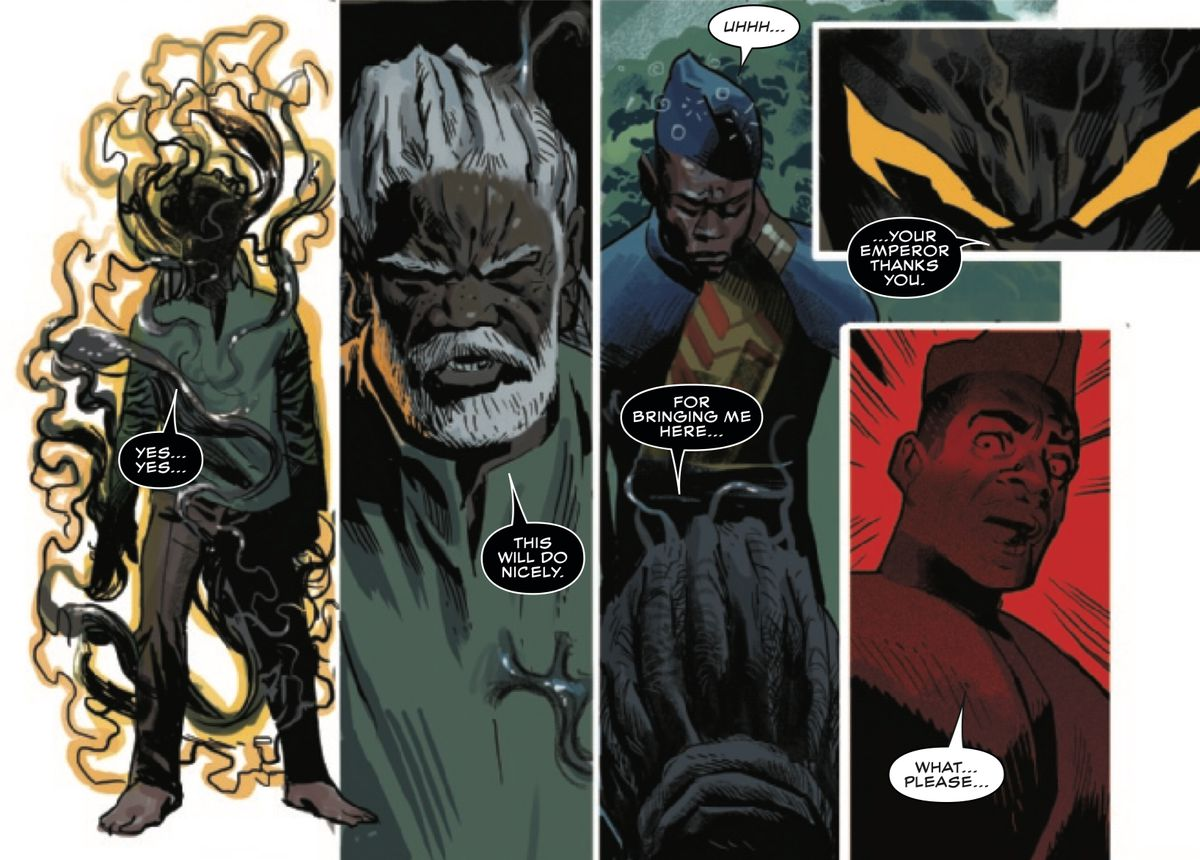 Emperor N'Jadaka, in his shifting symbiote suit, takes over the body of Wakandan philosopher/advisor Changamire, in Black Panther #16, Marvel Comics (2019).