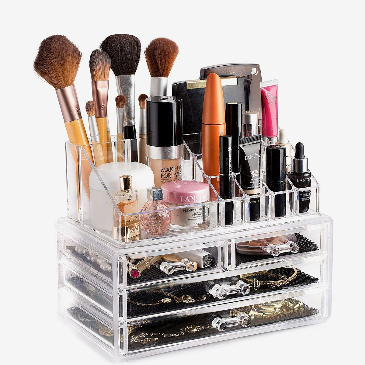 Clear container with three drawers.