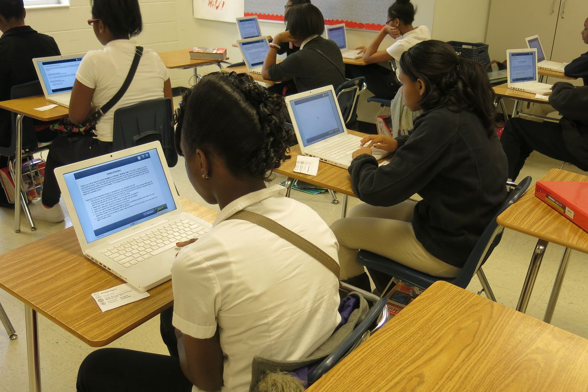 Colonial Middle students practiced an online writing assessment last year which is more Common Core-aligned.