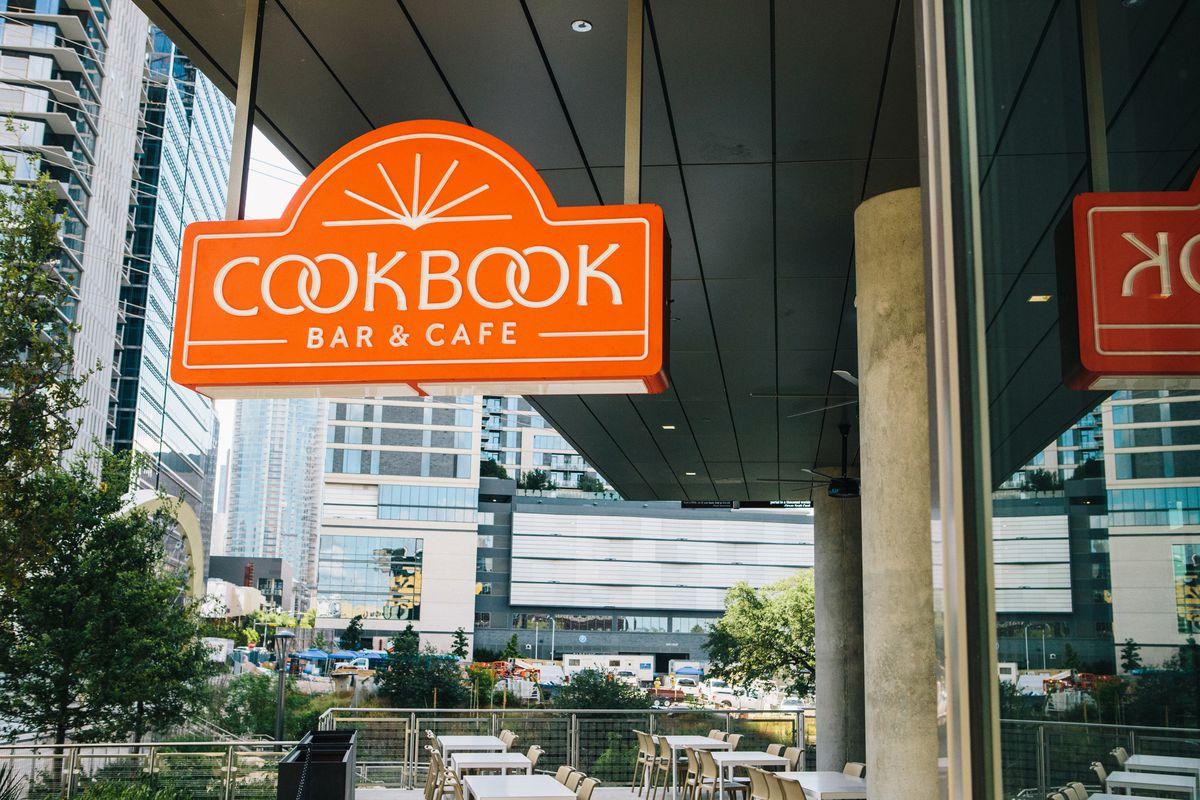 Cookbook Cafe's sign