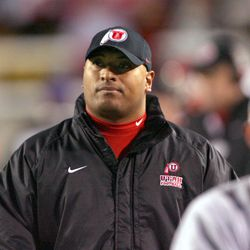 Utah assistant coach Kalani Sitake walks the sidelines in Salt Lake City, Nov. 12, 2005. Sitake, who played his college ball for BYU, joined the Ute staff in 2005, coaching the linebackers. In 2008 he was promoted to defensive coordinator and served in that capacity until 2014, when he joined Gary Andersen's staff at Oregon State. In December 2015 he was named head coach at BYU.
