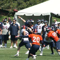 Peyton Manning throws during drills.