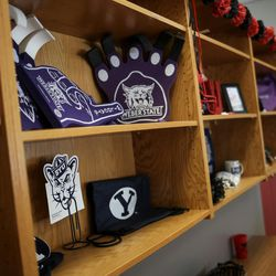 Memorabilia from Utah colleges is displayed in the Our CASA space at West High School in Salt Lake City on Friday, Feb. 24, 2017. The Our CASA spaces are part of an initiative to increase access to higher education for first-generation students and their families on Salt Lake City's west side.