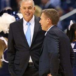 Brigham Young Cougars head coach Dave Rose and Gonzaga Bulldogs head coach Mark Few talk prior to tipoff as BYU and Gonzaga play in an NCAA basketball game in the Marriott Center in Provo on Saturday, Feb. 24, 2018.