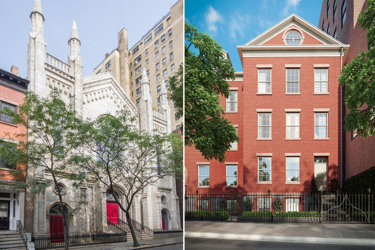 Two New York City churches, on West Fourth  Street and Prince Street, that have been, or are being, converted into  residential space.