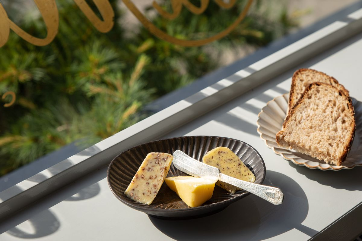 A selection of butter at La Mercerie, including olive-oil lemon and buckhweat