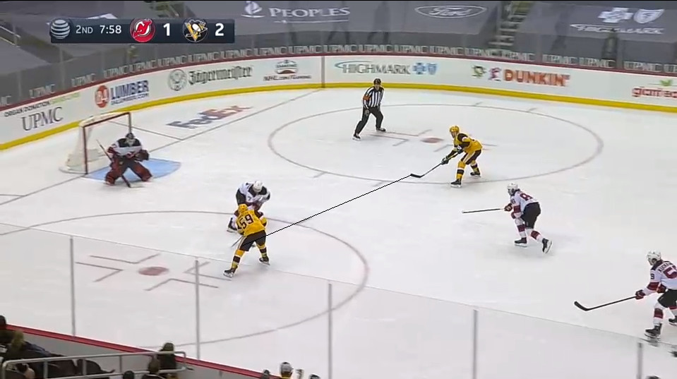 April 22: A picked off pass from Jack Hughes at the blueline led to this 2-on-1.  Matt Tennyson decided to make a bad decision worse by going towards the puck carrier instead of the open. This may shock you, but the result was: pass, shot, goal for Bryan Rust.