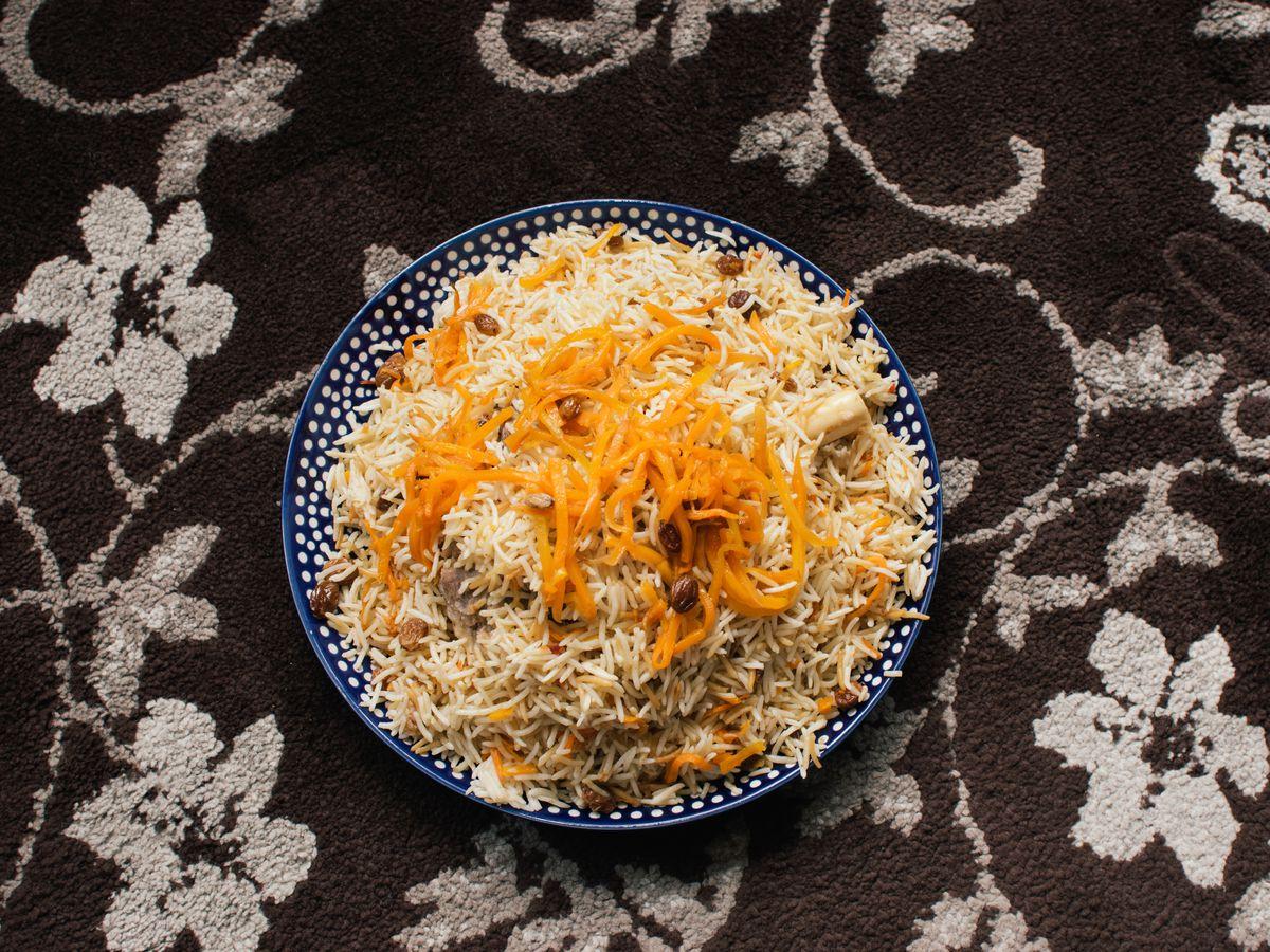 Kabuli pulao at Namak Mandi, a sweet and savoury rice at meat dish, with Afghan influences, served at Namak Mandi, a Pakistani restaurant in Tooting, south London