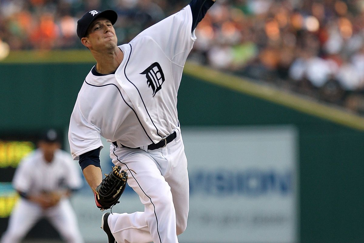 DETROIT, MI - AUGUST 25: Drew Smyly #33 of the Detroit Tigers winds up for the pitch during a MLB game against the Los Angeles Angels of Anaheim at Comerica Park on August 25, 2012 in Detroit, Michigan. (Photo by Dave Reginek/Getty Images)