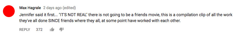 Friends trailer youtube comment