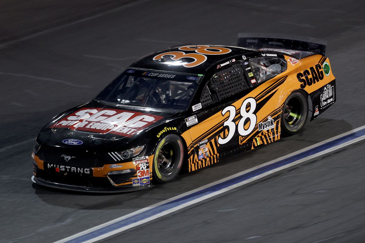 John H. Nemechek, driver of the #38 SCAG Ford, drives during the NASCAR Cup Series Alsco Uniforms 500 at Charlotte Motor Speedway on May 28, 2020 in Concord, North Carolina.
