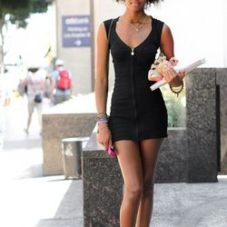 """<a href=""""http://la.racked.com/archives/2011/09/16/christina_at_9th_and_los_angeles.php"""" rel=""""nofollow"""">Christina</a>'s dress is from bebe, and she doesn't remember where she purchased her shoes."""