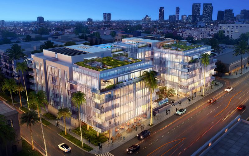 Rendering of 9200 Wilshire at night