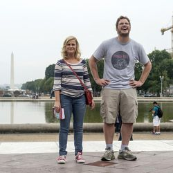 """Amy Poehler as Leslie Knope and Chris Pratt as Andy in NBC's """"Parks and Recreation"""" during an episode titled """"Washington D.C."""""""