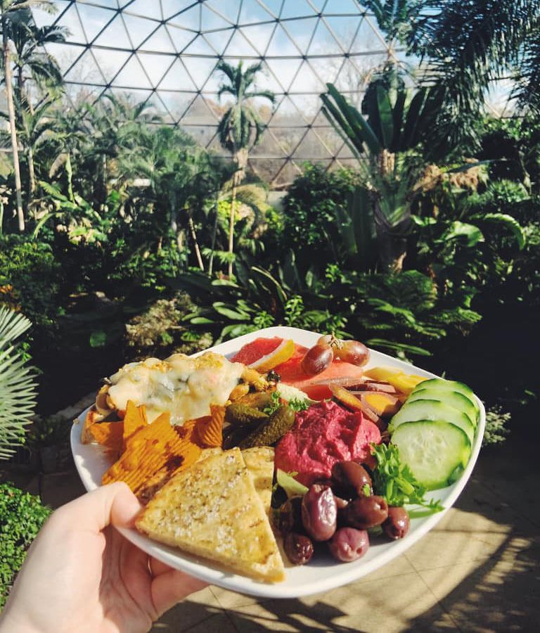 A plate overflowing with vegetables and dips, held in front of a green house
