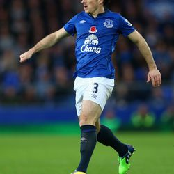 Leighton Baines of Everton in action during the Barclays Premier League match between Everton and Swansea City at Goodison Park on November 1, 2014 in Liverpool, England.