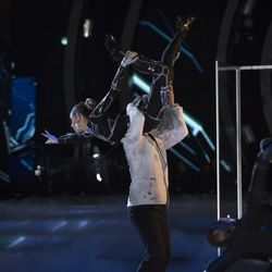 """Violinist Lindsey Stirling and dance pro Mark Ballas dance an Argentine tango with a sci-fi theme during """"A Night at the Movies"""" theme night on """"Dancing with the Stars"""" on Monday, Oct. 23."""