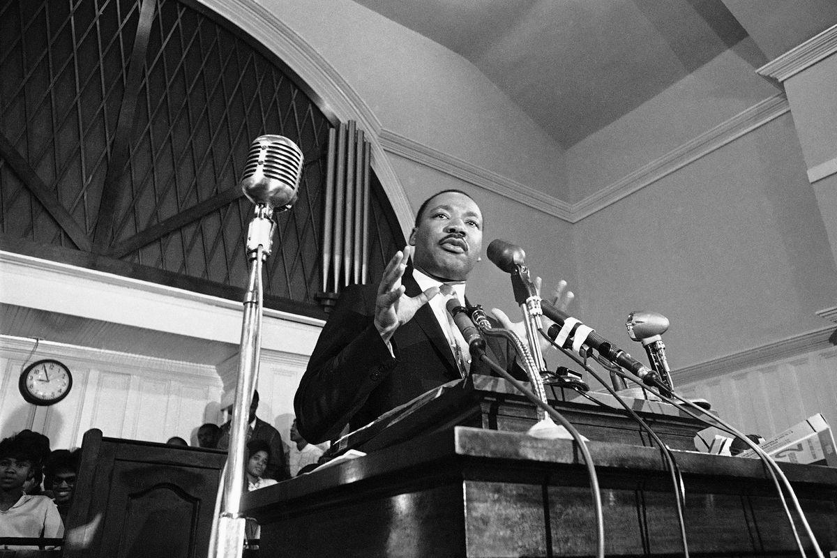 Martin Luther King speaks in Atlanta in 1960. (AP Photo)