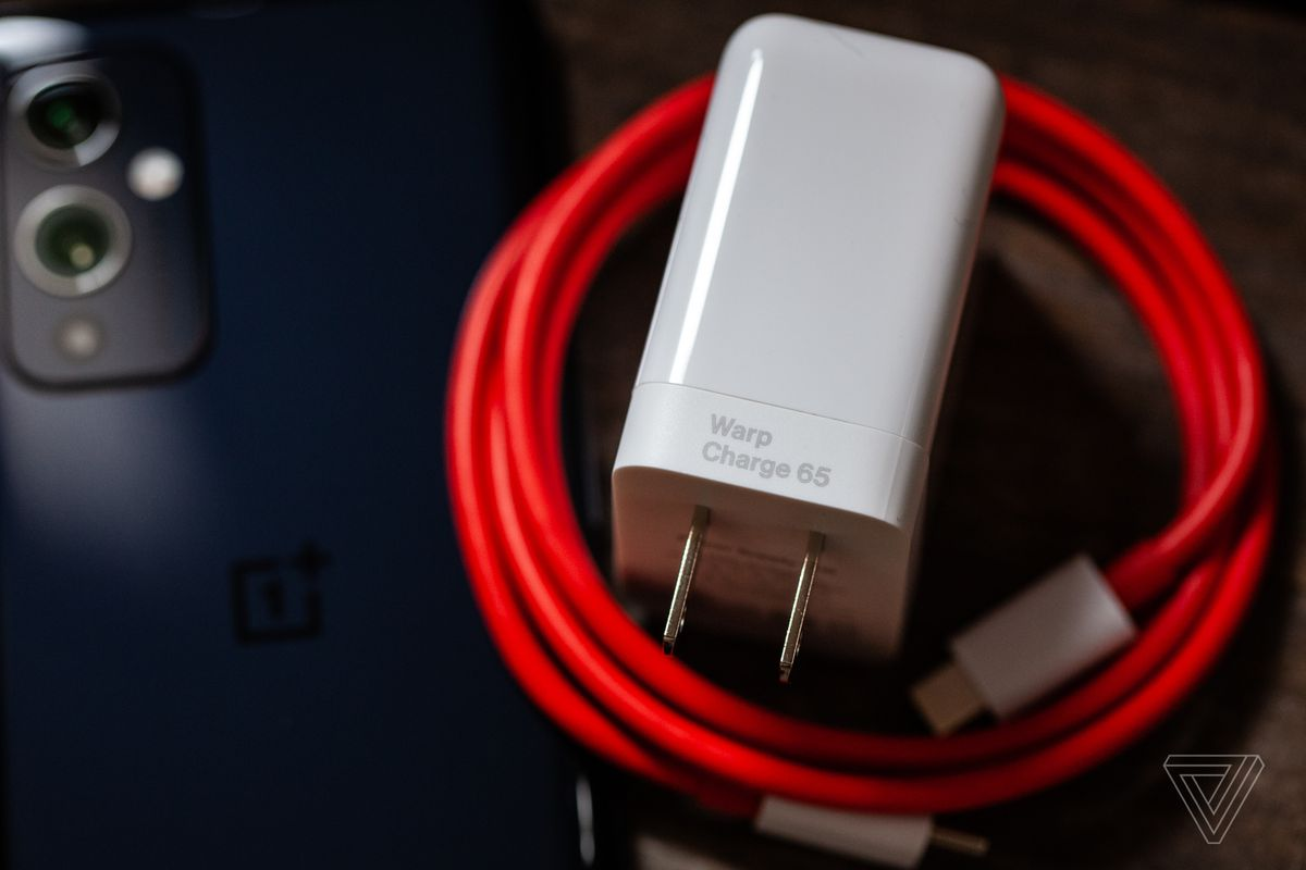 The 65W charger comes in the box (pictured with the regular OnePlus 9).