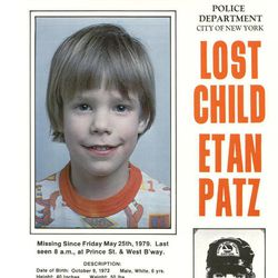 In this 1979 photo provided by the New York City Police Department shows a missing child poster for Etan Patz. New York City Police and the FBI began digging up a New York basement Thursday, April 19, 2012 for the remains of the 6-year-old boy whose 1979 disappearance on his way to school drew helped launch a missing children's movement that put kids' faces on milk cartons.